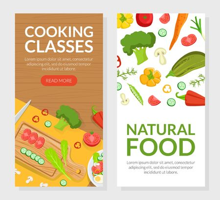 Cooking Classes, Natural Food Landing Page Templates Set, Culinary School Online Web Page, Website Vector Illustration Vecteurs
