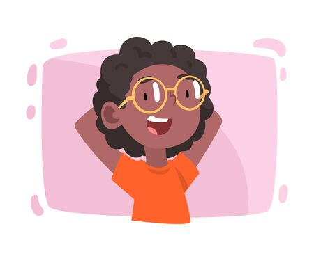 Cute Smiling Girl Wearing Glasses, Ophthalmology Diagnostics, Vision Correction Cartoon Vector Illustration
