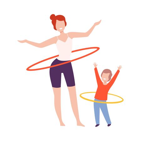 Mother and Son Doing Rotating Workout Exercise, Mom and Kid Doing Sports Together Flat Style Vector Illustration Isolated on White Background.