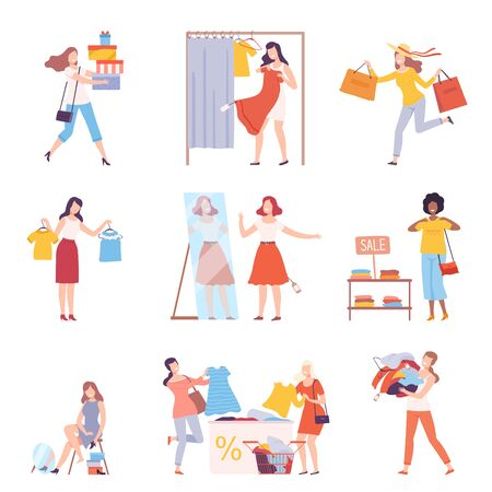 Young Women Taking Part in Seasonal Sale at Store, Mall Set, Girls Choosing, Trying On and Buying Clothes Flat Style Vector Illustration Isolated on White Background. Vektorgrafik
