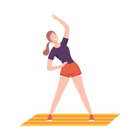 Young Woman in Sportswear Doing Side Bend Stretch in Fitness Club, Gym or Home, Active Healthy Lifestyle Flat Style Vector Illustration Isolated on White Background.