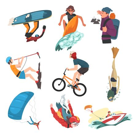 Extreme Sports Set, Snowboarding, Surfing, Hiking, Diving, Skateboarding, Roller Skating, Hobbies and Recreational Activities Cartoon Style Vector Illustration Isolated on White Background.