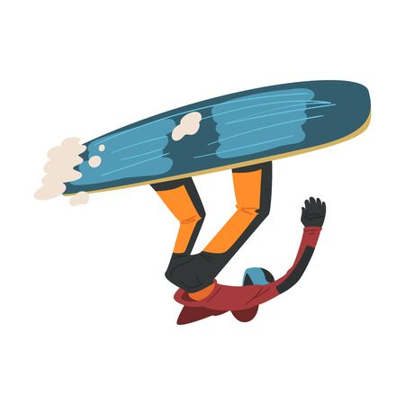 Young Man Jumping with Snowboard, Extreme Hobby or Sport Cartoon Style Vector Illustration Isolated on White Background.