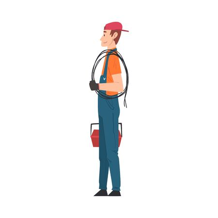 Male Electrician Engineer, Professional Worker Character in Uniform with Cable and Toolbox Cartoon Style Vector Illustration Isolated on White Background. Stock Illustratie