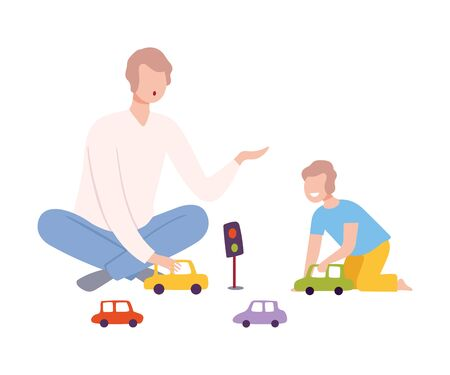 Father Sitting on the Floor with Crossed Legs and Playing Toy Cars with Her Son, Parent and Kid Spending Time Together at Home Flat Style Vector Illustration Isolated on White Background.