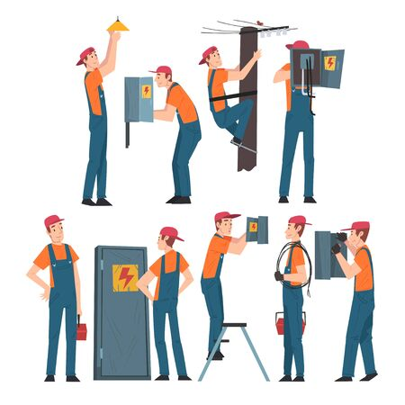 Electrical Engineers Repairing and Operating Electrical Equipment, Electricity Maintenance Professional Service Workers Characters in Uniform Cartoon Style Vector Illustration Isolated on White Background. Vector Illustratie