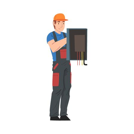 Male Electrician Engineer Repairing Control Panel, Electricity Maintenance Service Worker Character in Uniform and Cap Cartoon Style Vector Illustration Isolated on White Background. Stock Illustratie