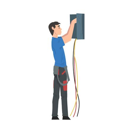 Male Electrician Engineer Repairing Control Panel, Electricity Maintenance Service Worker Character Cartoon Style Vector Illustration Isolated on White Background.