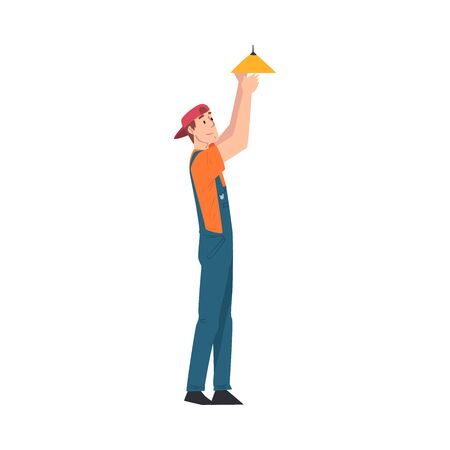 Male Electrician Engineer Changing Light Bulb, Professional Worker Character in Uniform Repairing Electrical Equipment Cartoon Style Vector Illustration Isolated on White Background.