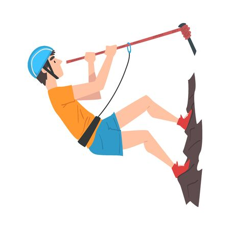 Climber in Protective Helmet Climbing Mountain with Rope, Extreme Hobby or Sport Cartoon Style Vector Illustration Isolated on White Background.