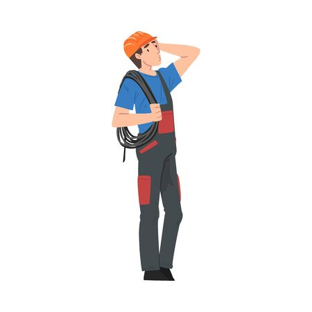 Male Electrician Engineer with Cable Thinking Before Repairing, Electricity Maintenance Service Worker Character Cartoon Style Vector Illustration Isolated on White Background.