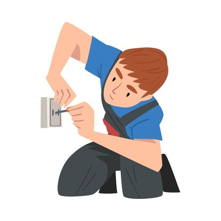 Male Electrician Engineer Installing Wall Socket, Professional Worker Character in Uniform Repairing Electrical Equipment Cartoon Style Vector Illustration Isolated on White Background.
