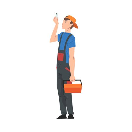 Male Electrician Engineer with Toolbox Looking at Light Bulb, Professional Worker Character in Uniform Repairing Electrical Equipment Cartoon Style Vector Illustration Isolated on White Background.