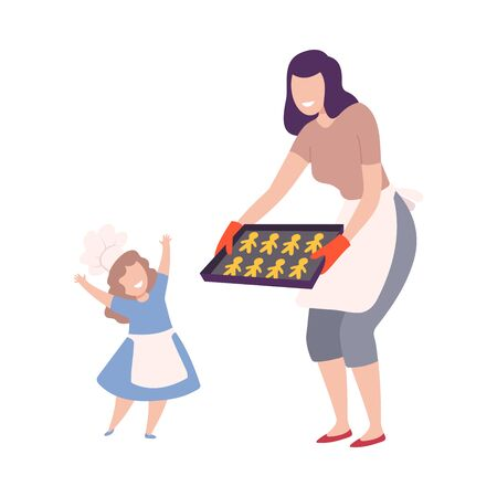 Mother And Child Making Cookies Together, Mom Holding Baking Tray with Homemade Pastries, Parent and Kid Having Good Time at Home Flat Style Vector Illustration