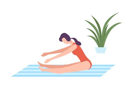 Young Woman in Sportswear Seated Forward Bend Pose, Girl Doing Sports in Fitness Club, Gym or Home, Active Healthy Lifestyle Flat Style Vector Illustration
