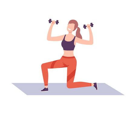 Young Woman Exercising with Dumbbells in Fitness Club, Gym or Home, Active Healthy Lifestyle Flat Style Illustration Ilustracja