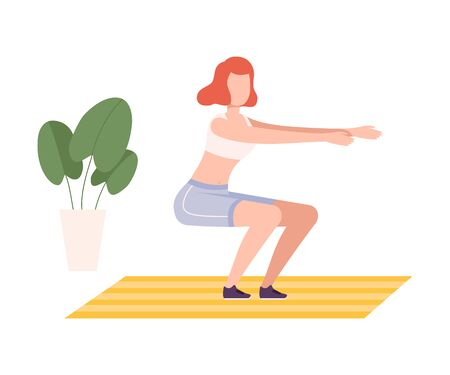 Young Woman in Sportswear Squatting, Girl Doing Sports in Fitness Club, Gym or Home, Active Healthy Lifestyle Flat Style Illustration Zdjęcie Seryjne - 150345326
