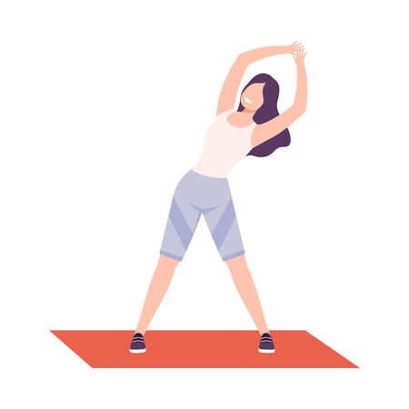 Young Woman in Sportswear Doing Side Bend Stretch, Girl Exercising in Fitness Club, Gym or Home, Active Healthy Lifestyle Flat Style Illustration