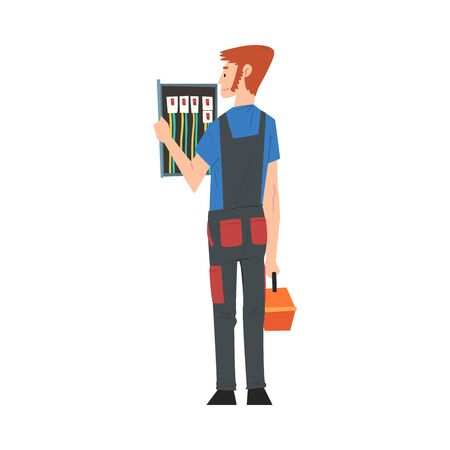 Male Electrician Engineer Operating Switchboard Control Panel, Electricity Maintenance Service Worker Character Cartoon Style Vector Illustration