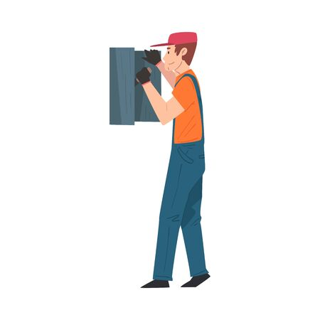 Male Electrician Engineer Repairing Control Panel, Electricity Maintenance Service Worker Character Cartoon Style Vector Illustration