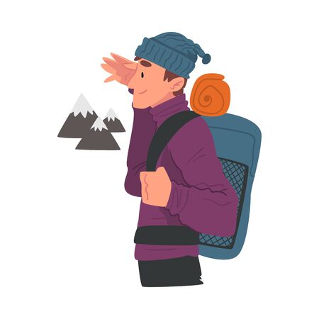 Young Man Travelling with Backpack, Male Traveller Looking into Distance, Extreme Hobby or Sport, Tourism and Recreational Activity Cartoon Style Vector Illustration