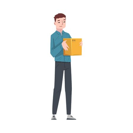 Guy Carrying Cardboard Box, Young Man Received Parcel or Relocating to New Apartment Cartoon Vector Illustration