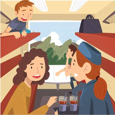 People Travelling by Train, Cheerful Men and Women Sitting in Passenger Railway Transport and Talking to Each Other, Train Interior Vector Illustration