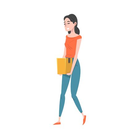Girl Carrying a Cardboard Box, Smiling Young Woman Received Parcel or Relocating to New Apartment Cartoon Vector Illustration