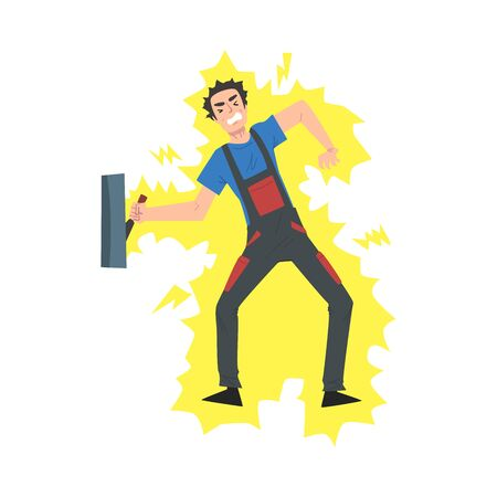 Male Electrician Engineer Getting Electrocuted., Professional Worker Character in Uniform Repairing Electrical Equipment Cartoon Style Vector Illustration
