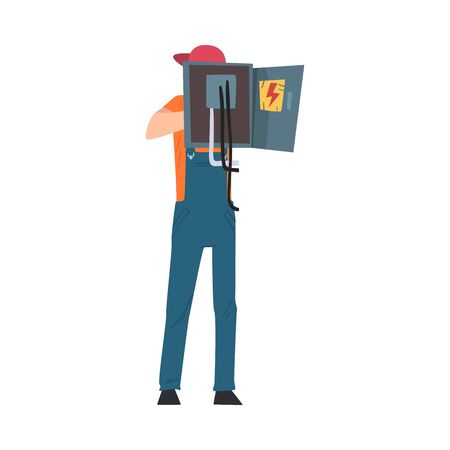 Male Electrician Engineer Checking Control Panel, Electricity Maintenance Service Worker Character Cartoon Style Vector Illustration Vector Illustratie