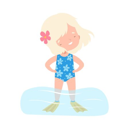 Lovely Blonde Girl Wearing Blue Swimsuit Standing in Water, Kids Summer Activities, Adorable Child Having Fun on Beach on Holidays Cartoon Vector Illustration 일러스트