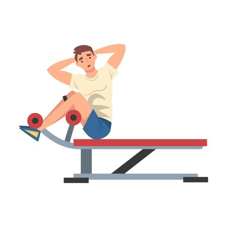 Man Training on Abdominal Crunch Bench Vector Illustration Illustration