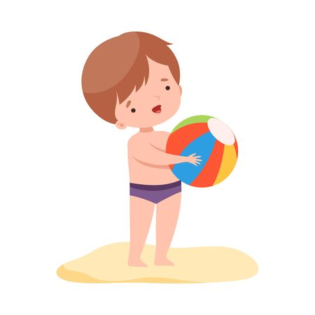 Cute Boy Playing with Ball, Kids Summer Activities, Adorable Child Having Fun on Beach on Holidays Cartoon Vector Illustration