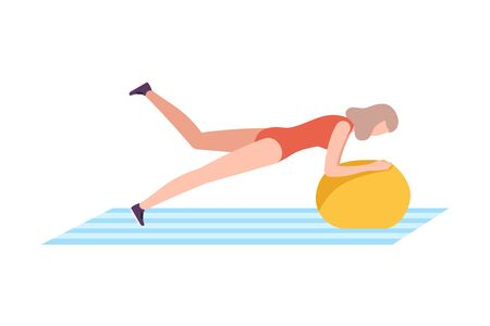 Young Woman in Sportswear Holding Plank Exercise on Fitball, Girl Doing Sports in Fitness Club, Gym or Home, Active Healthy Lifestyle Flat Style Vector Illustration