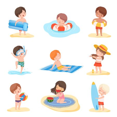Cute Boys and Girls Playing on the Beach Set, Kids Summer Activities, Adorable Children Having Fun on Holidays Cartoon Vector Illustration
