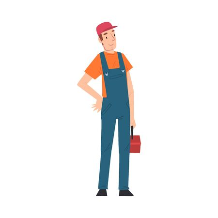 Male Electrician Engineer with Toolbox, Professional Worker Character in Uniform Repairing Electrical Equipment Cartoon Style Vector Illustration Isolated on White Background. Stock Illustratie