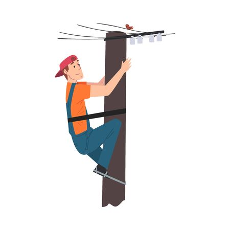 Male Electrician Engineer Working on Electric Power Pole, Electricity Maintenance Service Worker Character Cartoon Style Vector Illustration Illustration