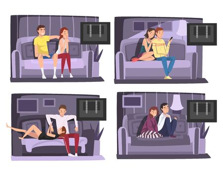 Family Couples Sitting on Sofa Set, Man and Woman Characters Spending Time Indoors, Staying at Home Illustration Zdjęcie Seryjne - 150345357