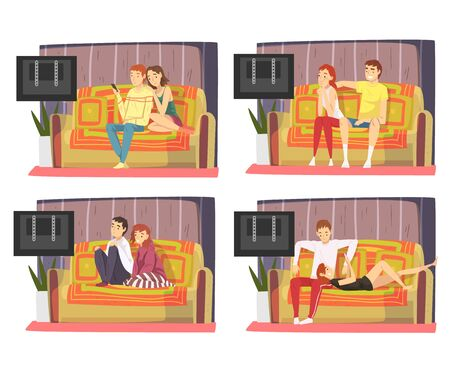 Bored Couples Sitting on Couch and Watching TV Set, Men and Women Spending Time Together at Home, Family Staying Together Illustration Zdjęcie Seryjne - 150345367