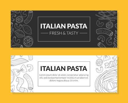 Italian Pasta Fresh and Tasty Card Templates Set, Traditional Cuisine Products Pattern, Food Menu, Restaurant, Cafe Design Element, Landing Page, Flyer, Card, Hand Drawn Vector Illustration