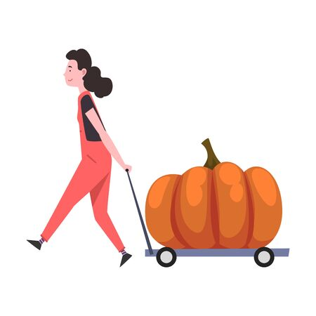 Girl Transporting Big Pumpkin on Cart, Female Farmer Character with Natural Organic Vegetable Vector Illustration Stock Illustratie