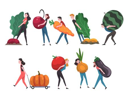 People Carrying Giant Vegetables and Fruits, Male and Female Farmers Characters Harvesting Vector Illustration