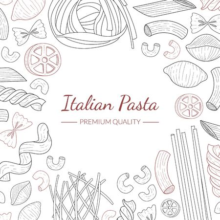 Italian Pasta Banner Template, Traditional Cuisine Products, Food Menu, Restaurant, Cafe Flyer, Card, Business Promote Hand Drawn Vector Illustration