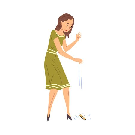 Shocked Young Woman Dropping Her Smartphone, Sad Girl with Broken Phone Cartoon Style Vector Illustration on White Background