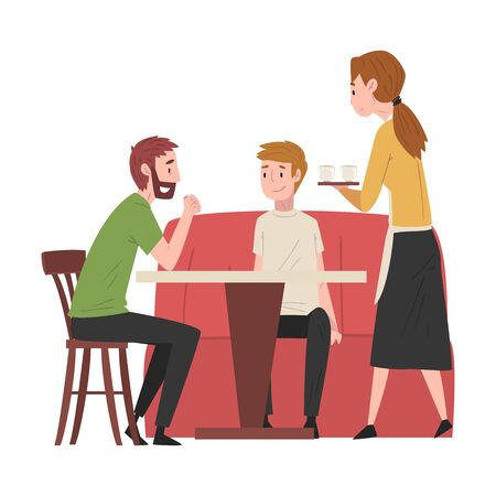 Two Male Friends Sitting at Table in Cafe and Waitress Serving Them, People Drinking Coffee and Relaxing at Coffeehouse or Coffee Shop Vector Illustration