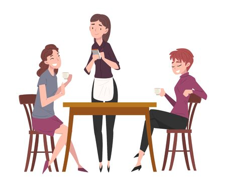 Two Girls Sitting at Table in Coffee Shop and Waitress Serving Them, People Drinking Coffee and Relaxing at Coffeehouse or Cafe Vector Illustration