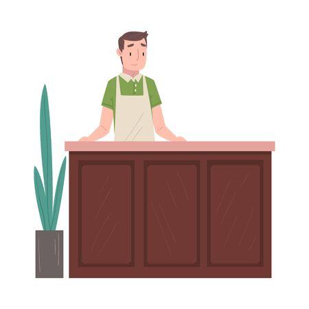 Man Barista or Barman Character Serving Clients at Counter Vector Illustration