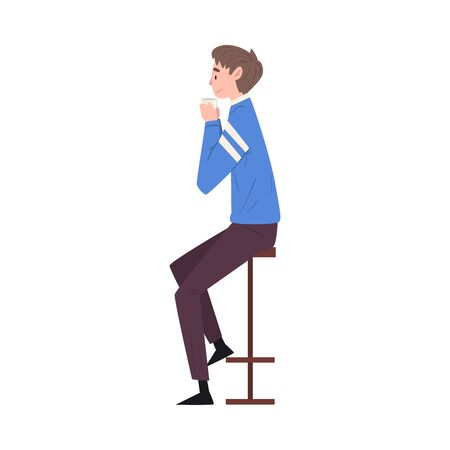 Young Man Sitting on Chair at Bar Drinking Coffee and Relaxing Vector Illustration Ilustração Vetorial