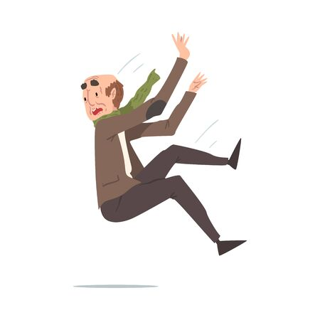 Elderly Man Falling Down, Retired Male Person Falling Back, Accident, Pain and Injury Cartoon Style Vector Illustration on White Background