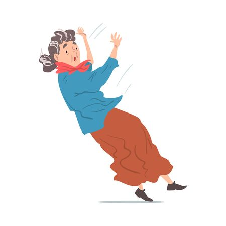 Elderly Woman Falling Down, Retired Person Falling Back, Accident, Pain and Injury Cartoon Style Vector Illustration on White Background Vectores